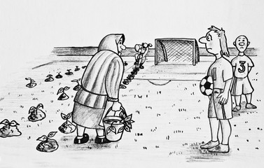 An old woman planting cabbage on a football field. Pencil drawing on paper