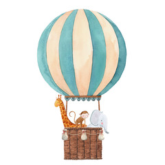 Watercolor air baloon illustration