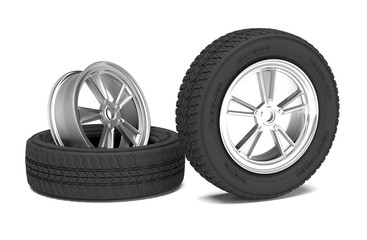 Car alloy wheel and tyre on white background. 3d render illustration