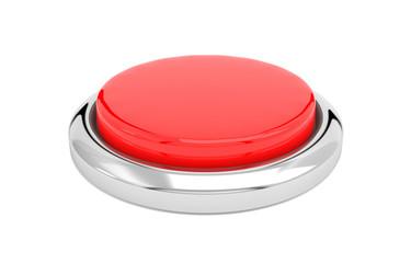 Red push button. Alert element. 3d render illustration