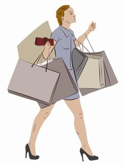 illustration of a shopping woman with a bags , vector draw