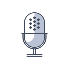 Old microphone web icon, flat design - Vector