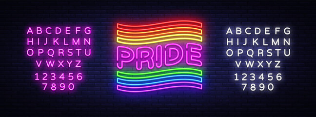 Pride neon text vector design template. LGBT neon logo, light banner design element colorful modern design trend, night bright advertising, bright sign. Vector illustration. Editing text neon sign