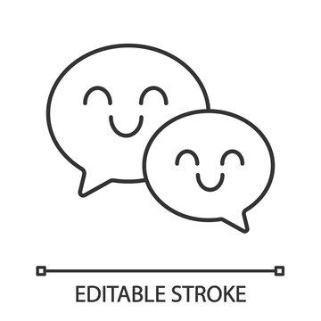 Smiling speech bubbles linear icon
