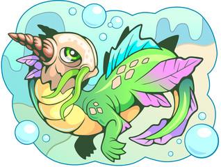 cartoon little cute water dragon funny illustration
