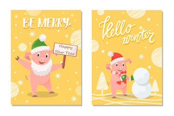 Be Merry happy New Year and hello winter. Pig in green mittens and red scarf making snowman near trees, smiling piggy in beard holding nameplate vector