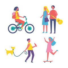 People resting in park cartoon isolated vector banner. Girl with backpack riding bike, guy with bottle of cola walk dog on leash, teen on skateboard