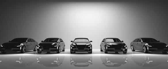 Fleet of black cars on light background. Wall mural