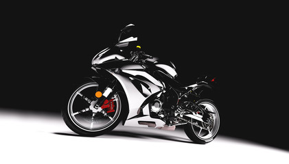 Sports motorcycle on black background.