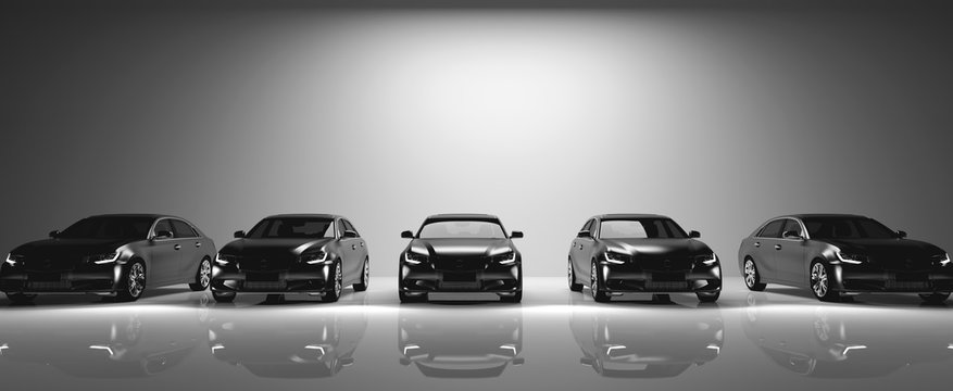Fleet of black cars on light background.