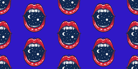 seamless pattern open mouth with space inside, psy art