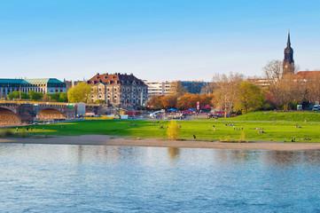 Riverbank of Elbe river in Dresden