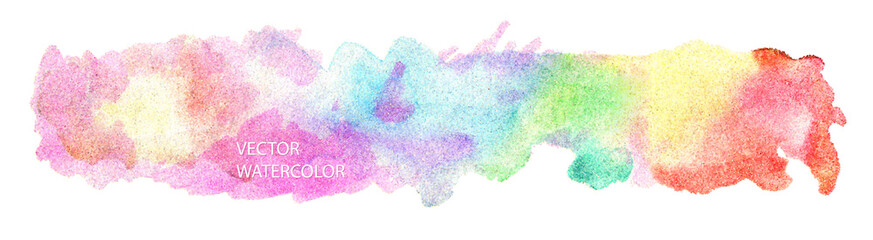 Bright vector watercolor rainbow stain drips. Abstract illustration on a white background. Banner for text, grunge element for decoration