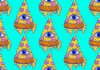 seamless pattern pizza with an eye