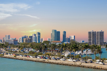 highway road along the canal, Miami, MacArthur Causeway, USA, Florida