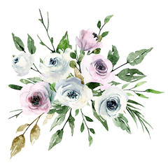 Watercolor bouquet with flowers, pink and white roses. Bouquet for wedding invitation, greeting card, poster, flyer, banner design. Floral watercolor painting isolated on white.