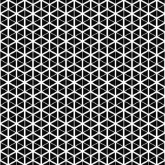 Vector seamless pattern. Cube grid texture. Black-and-white background. Monochrome line design. Vector EPS 10