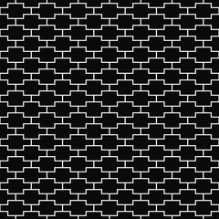 Vector seamless pattern. Geometric texture. Black-and-white background. Monochrome line square design. Vector EPS 10