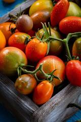 Fresh tomatoes set in box