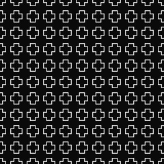 Vector seamless geometric pattern. Texture of cross outline shapes. Black-and-white background. Monochrome design. Vector EPS 10