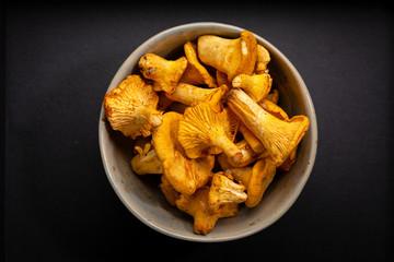 Fresh mushrooms top view