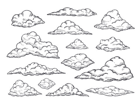 Sketch clouds. Hand drawn sky cloudscape. Outline sketching cloud vintage vector collection. Illustration of cloud shape of collection
