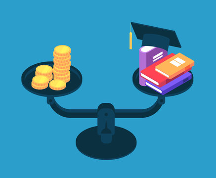 Investment in education. Money for college studying, books and golden coins on scales. Student loan vector concept. Illustration of investment in graduation college