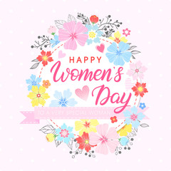 Women`s Day typography - hand painted lettering with different flowers and floral elements.Seasons greetings card perfect for prints,flyers,posters,holiday invitations and more.Vector 8 march card.