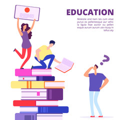 Education through books and self-study vector illustration. Help and support in education. Education study, university self teaching