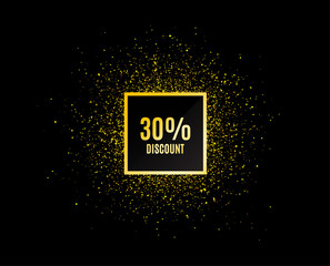 Gold glitter banner. 30% Discount. Sale offer price sign. Special offer symbol. Christmas sale background. Abstract shopping banner tag. Template for design. Vector