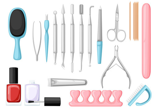 Manicure tools vector set. Colorful icon collection. Tools for beauty salon or for cosmetics bag, Flat vector illustration isolated on white background