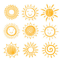 Sketch sun icons. Hand drawn sunshine. Summer morning sunrise. Doodle vector warming symbols isolated. Illustration of sunny sunshine sketch