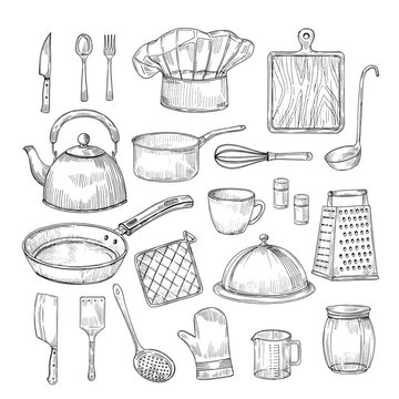 Hand drawn cooking tools. Kitchen equipment kitchenware utensils vintage sketch vector collection. Illustration of kitchenware equipment, spoon and bowl