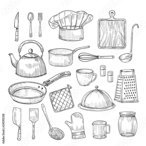 Hand Drawn Cooking Tools Kitchen Equipment Kitchenware