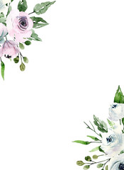 Watercolor roses, floral background frame, white flowers hand painting. Illustration for wedding invitation, greeting card, flyer, poster, banner design. Isolated on white background.