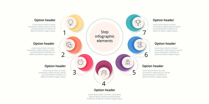 Business process chart infographics with 7 step circles. Circular corporate workflow graphic elements. Company flowchart presentation slide template. Vector info graphic design.
