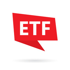 ETF (exchange-traded fund) acronym on a speach bubble- vector illustration