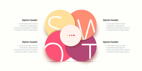 SWOT analysis infographic. Circular corporate strategic planning graphic elements. Company presentation slide template. Vector info graphic design.