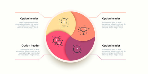 Business process chart infographics with 4 step circles. Circular corporate workflow graphic elements. Company flowchart presentation slide template. Vector info graphic design.