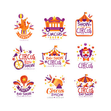 Big circus show logo design set, carnival, festive labels, badges, hand drawn design elements an be used for flyear, poster, banner, invitation vector Illustration