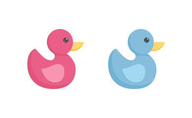 Rubber or plastic duck toy for toddler bathing in flat style isolated on white background.