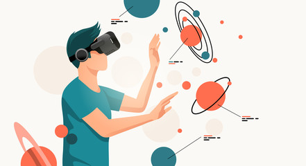 A young man moving objects around using a virtual reality VR headset. People vector illustration.