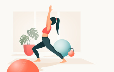A young women in a fitness studio practicing Yoga, People vector illustration