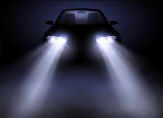 Bright and modern auto generic car headlights shining through fog at night. Vector illustration. Wall mural