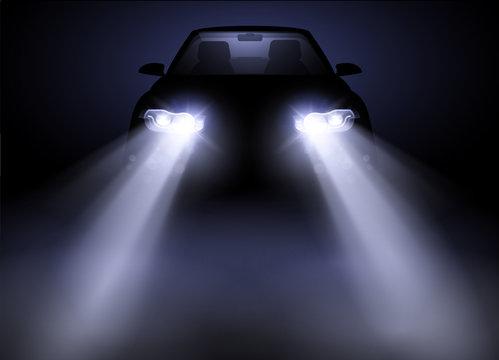 Bright and modern auto generic car headlights shining through fog at night. Vector illustration.