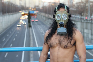 Post apocalyptical picture of man in urban space