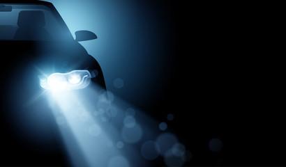 Modern Driving Car LED Headlights Background Wall mural