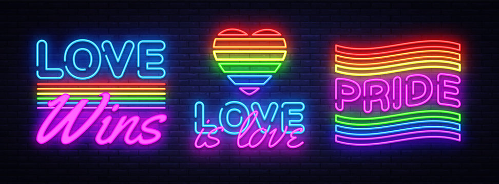 Big set neon sign. LGBT neon signs vector design template. Gay Pride neon logo, light banner design element colorful modern design trend, night bright advertising, bright sign. Vector illustration