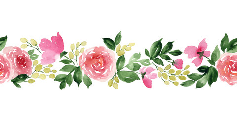 Watercolor horizontal seamless pattern with flowers of tea rose