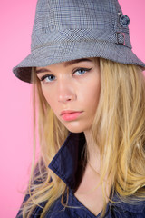 Girl with make up wear wide brimmed hat. Fashion girl concept. Fashion and style. Blonde fashion model on pink background. Woman mysterious face wear hat. Confident and fashionable. Modern style